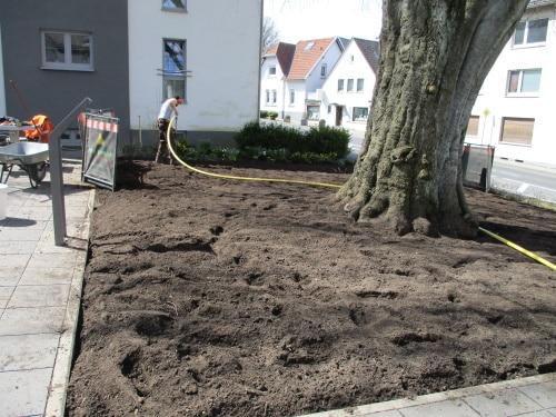 Bodenlockerung und Einbau von Wasserspeicher in Form von Humus